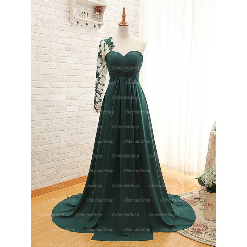 cheap prom dress, long prom dress, one shoulder prom dress and green prom dress