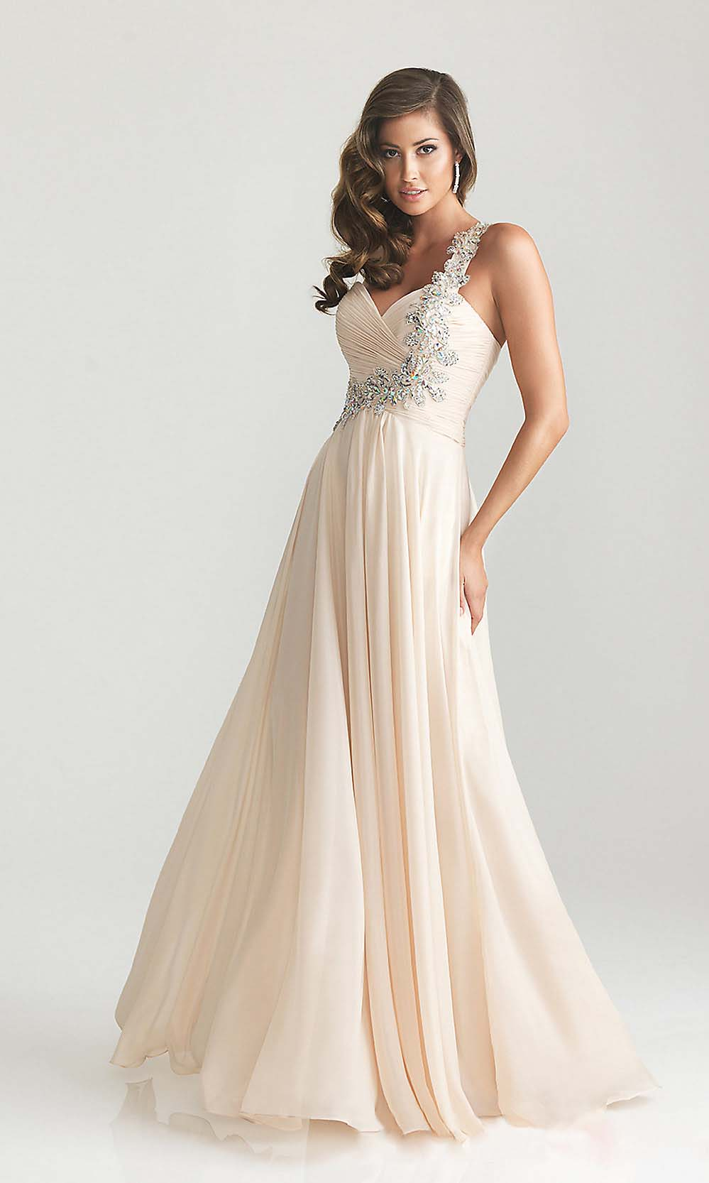 champagne, long and prom dress