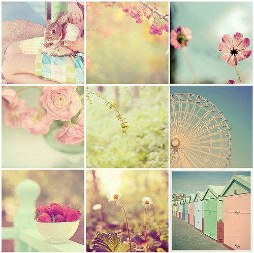 collage, pastel, pink and pretty