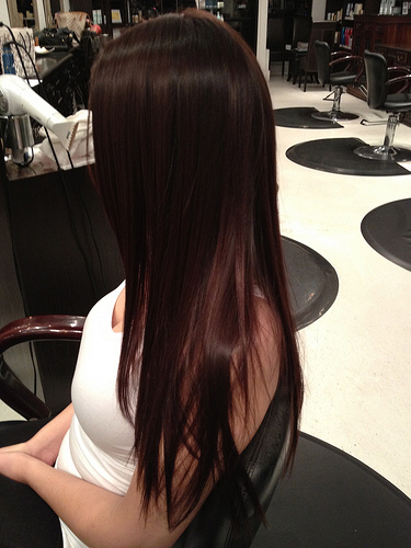 auburn brown brunette dark hair long straight