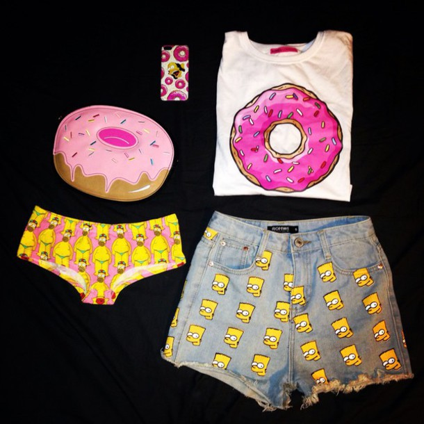 bart, donut, donuts, food, funny, homer, panties, phone case, phone cover, shorts, style, tank top, the simpsons, wow, yellow