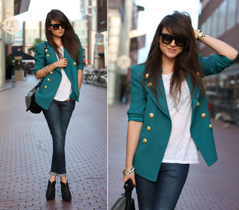 awesome, blazer, boots, fashion, girly, gorgeous, jeans, street, buttoned