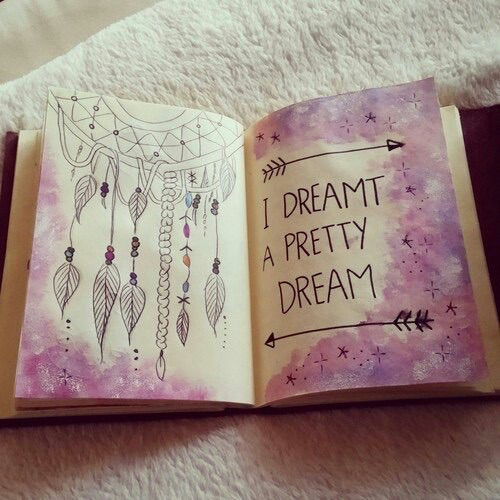 art, beautiful, book, drawing, dream, dream big, dreamcatcher, happiness, life, love, purple, qotd, quote, smile