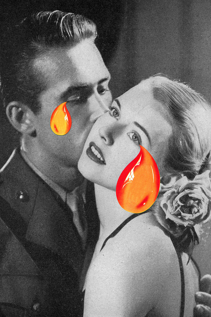 art, collage, couple and tears