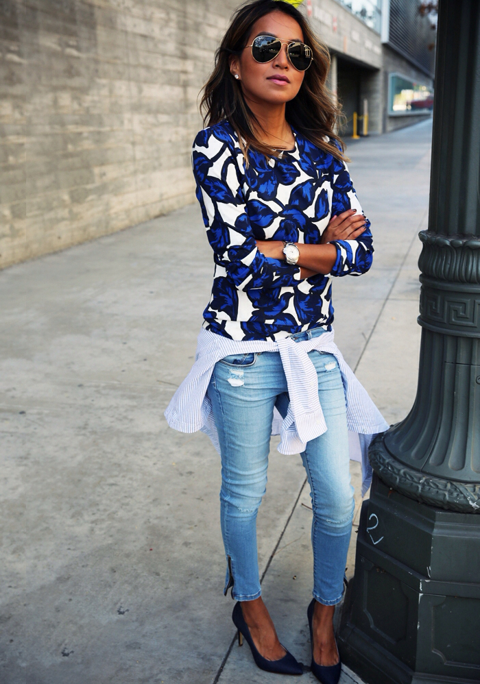 aviator, blouse, blue, denim, denims, heels, jeans, ootd, outfit, pumps, shoes, sincerelyjules, streetstyle, style, sunglasses, sincerely jules