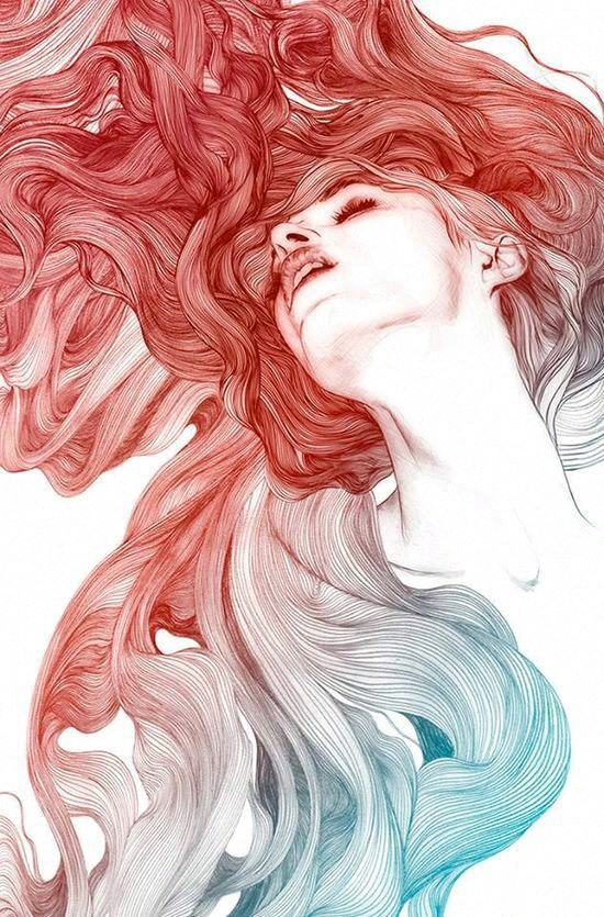 Image result for red  girl drawing tumblr