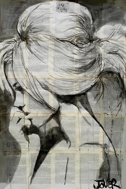 art, b&w, black and white, draw, drawing, girl, hair, inspiration, painting, paper, thinking, watercolor, drawspiration