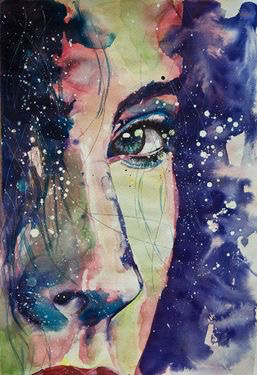 art, beautiful, draw, drawing, eye, eyes, galaxy, girl, hair, inspiration, painting, sky, starry, stars, watercolor, drawspiration