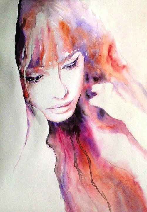 art, bed, color, colorful, draw, drawing, girl, hair, inspiration, lips, painting, sad, watercolor, drawspiration