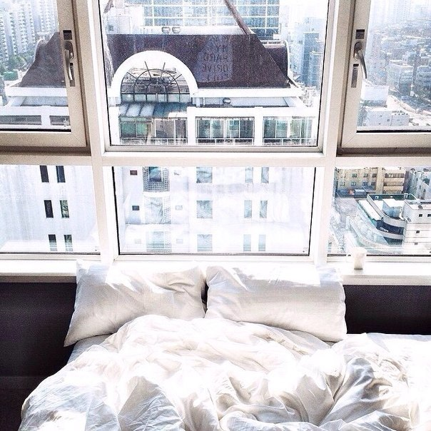 bed, bedroom, room, view, white, window