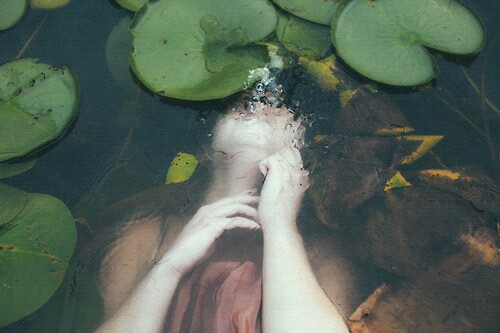 alone, beautiful, drowned, girl, leaves, pale, pond, water
