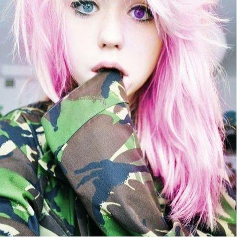 Cute Girl Grunge Long Hair Pink Hair Style Blue And Purple Eyes