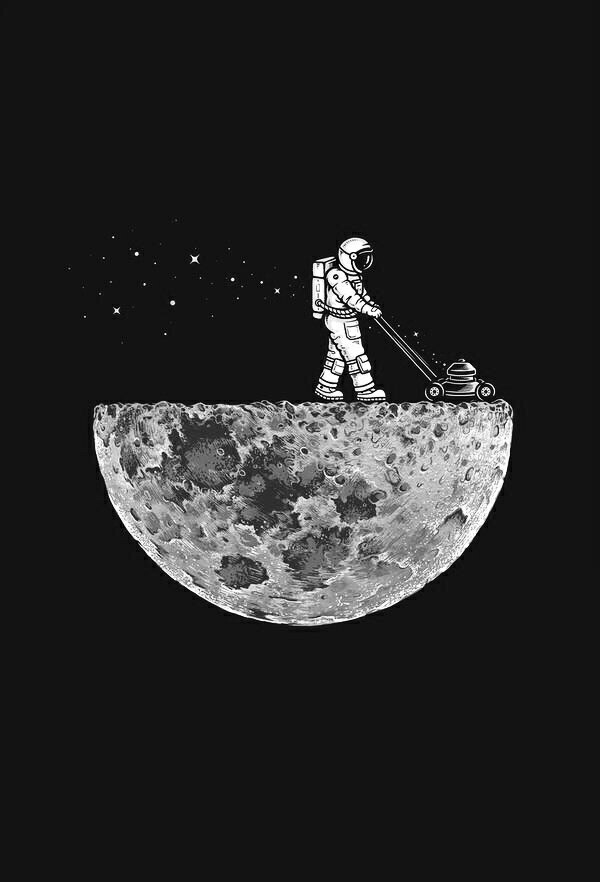 art, black and white, hipster, indie, moon, space, tumblr ...