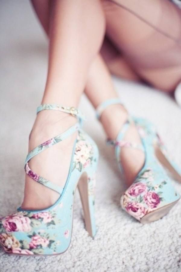 blue, flowers, girly and heels