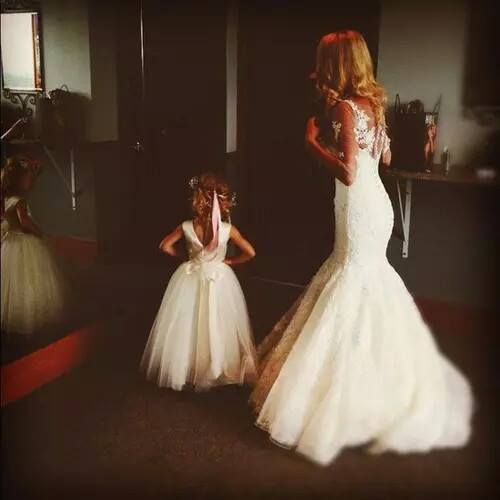 Wedding dress mother daughter image 2769999 by myss501 for Matching wedding and flower girl dresses