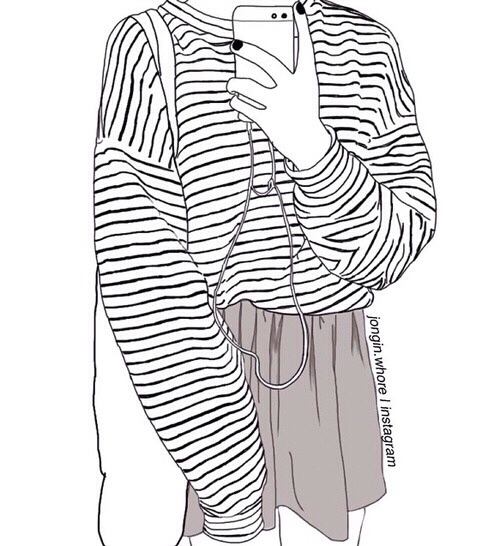 stunning outfit outline drawing women