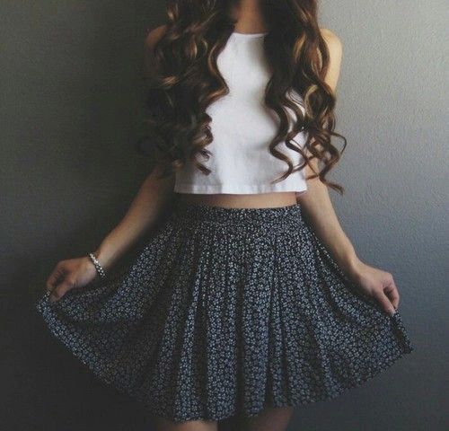 clothes, crop top, curly, cute, dream, fashion, girly, outfit, simple, skater skirt, someday, swag, teenager, trendy
