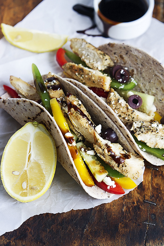 food, greek and chicken tacos