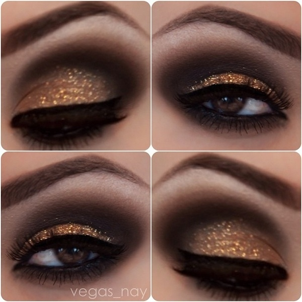 blue eyes, bold, brown eyes, dance, dark, eye liner, eye makeup, eyeshadow, girly, glitter, gold, green eyes, party, prom, shine, smokey eye, sparkle