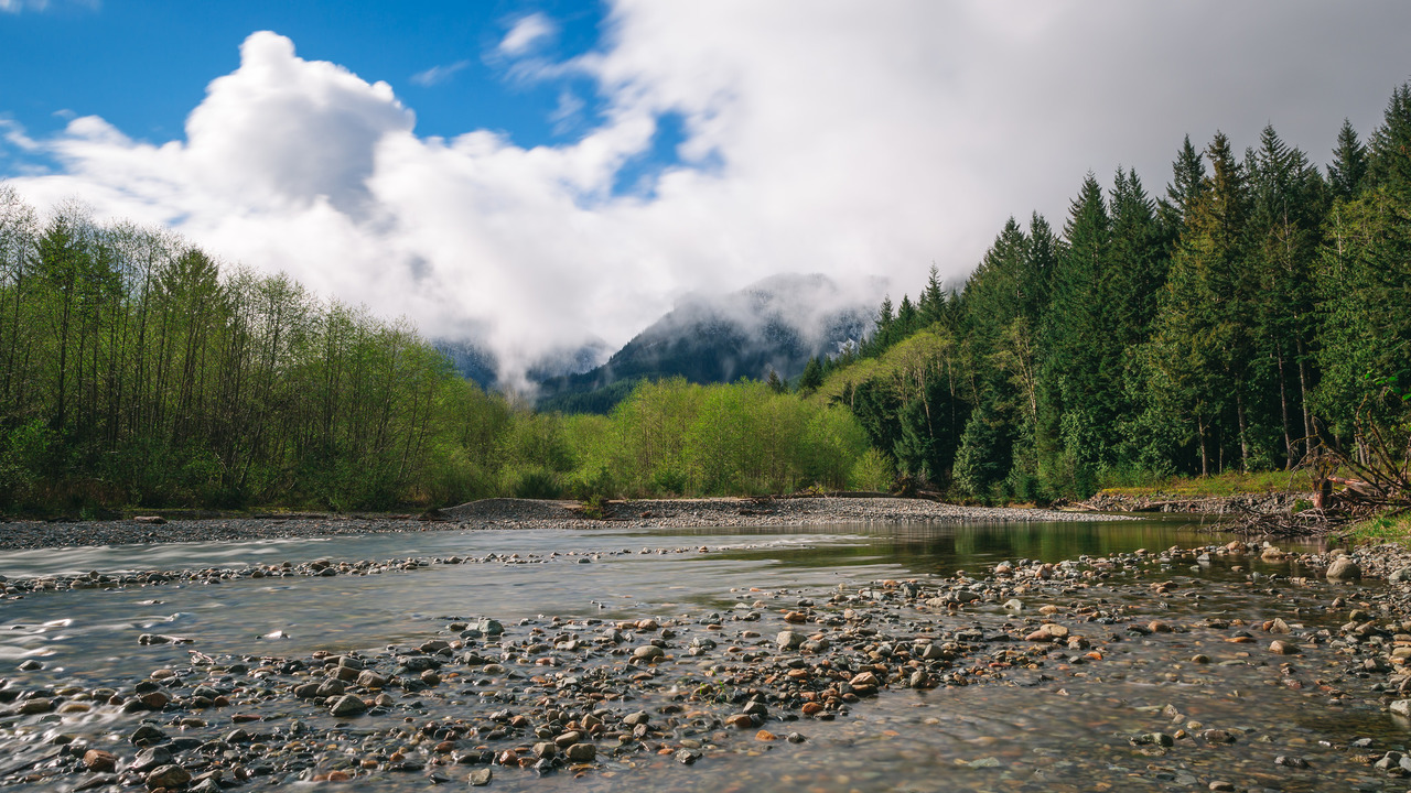 clouds, landscape, long exposure, nature, pacific northwest, river, washington state