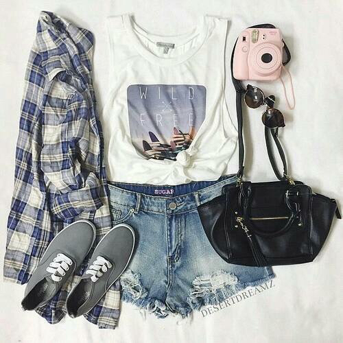 bag, black, camera, cute, denim shorts, distressed, flannel shirt, frayed, graphic, grey, outfit, photography, pink, polaroid, printed t-shirt, ripped, shoes, shoulder bag, summer, sun, tank top, top, white
