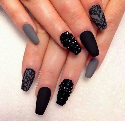 black, grey, nails, perfect, spikes