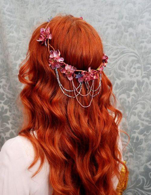 beautiful, beauty, curl, curls, curly, curly hair, flowers, girl, girl thing, girly, girly stuff, hair, hair accessories, hairstyle, hipster, indie, lady, long hair, pretty, redhead, woman, hair beauty, hair crown