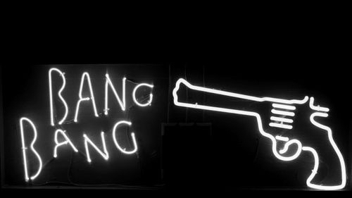 bang, bang bang, black, dark, gray, grunge, gun, lights, neon sign, pistol, white