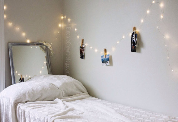 Bedroom fairy lights pretty led hanging string by image - How to hang string lights in bedroom ...