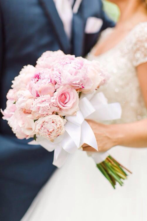 bouquet, bow, bride and dress