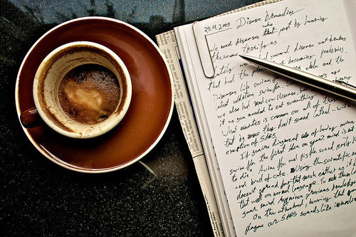 book, coffe, day, desk, inspiration, life, note, notebook, pen, pencil, read, write, writing