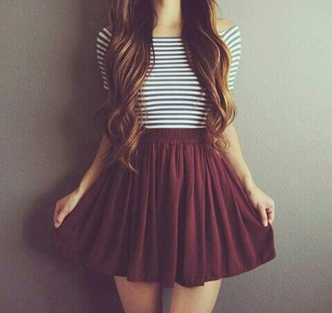 ca52904dbe8 black, crop top, fashion, outfit, red, skirt, stripes, style, white ...