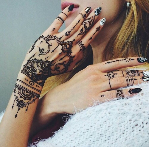 Black Henna Tattoo Tumblr: Design, Girl, Grunge, Hand, Hipster, Pattern, Pretty