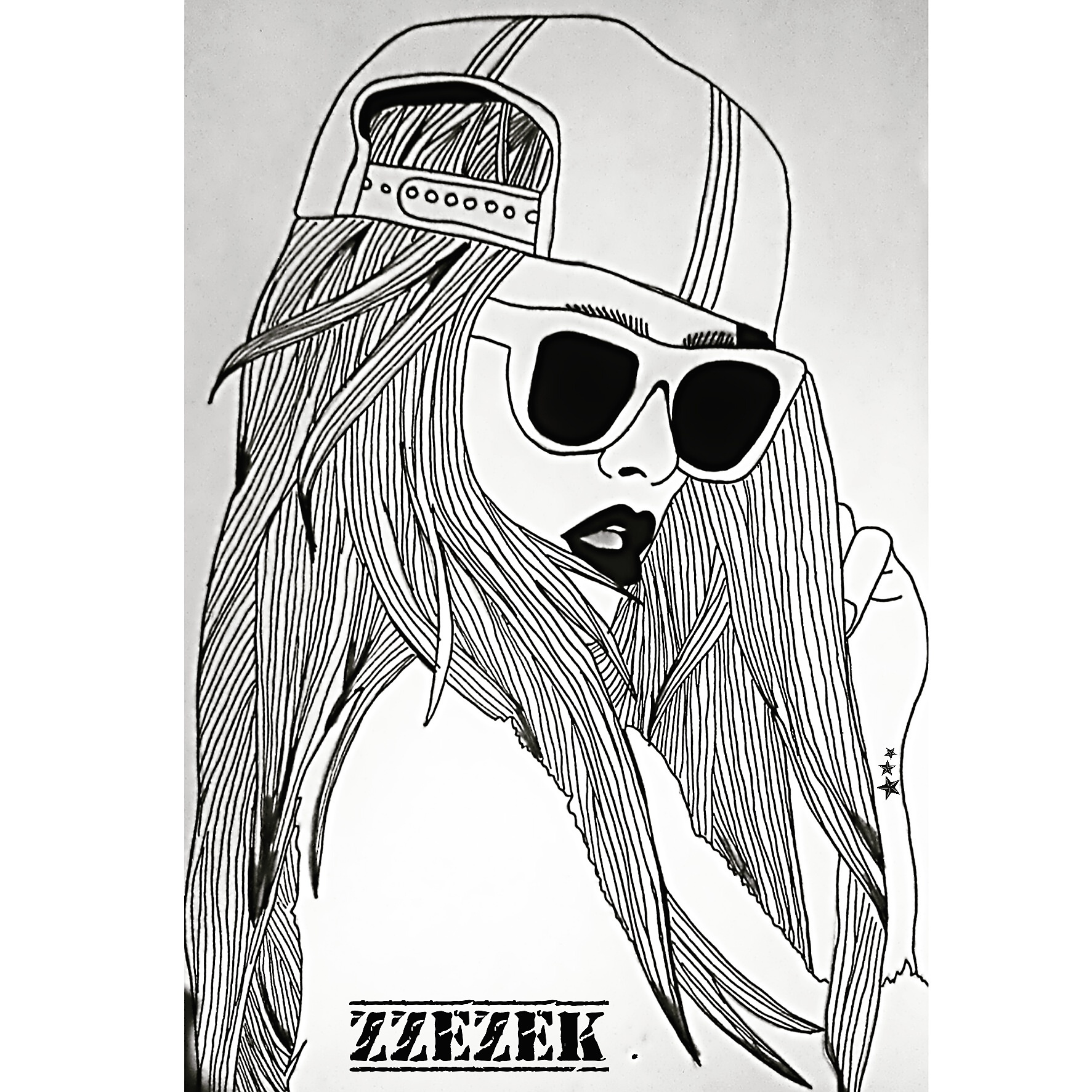 Art black black and white black and wite cool draw drawing girl zzezek