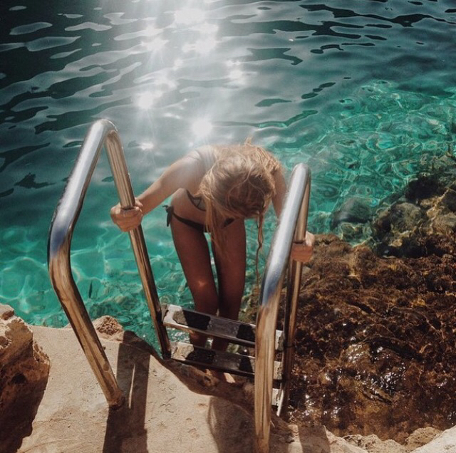 bikini, cold, cool, dive, girl, nature, pool, rocks, shine, stairs, sunshine, swim, water