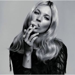 black and white, cigarette, editorial, fashion, kate moss, leather, rebel, smoking