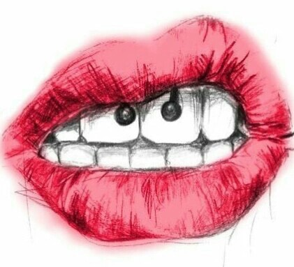 creatividad, dibujo, draw, lips, love, piercing, red lips, xxx, ​beautiful