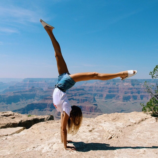 canyon, cliff, fashion, girl, handstand, outfit, style