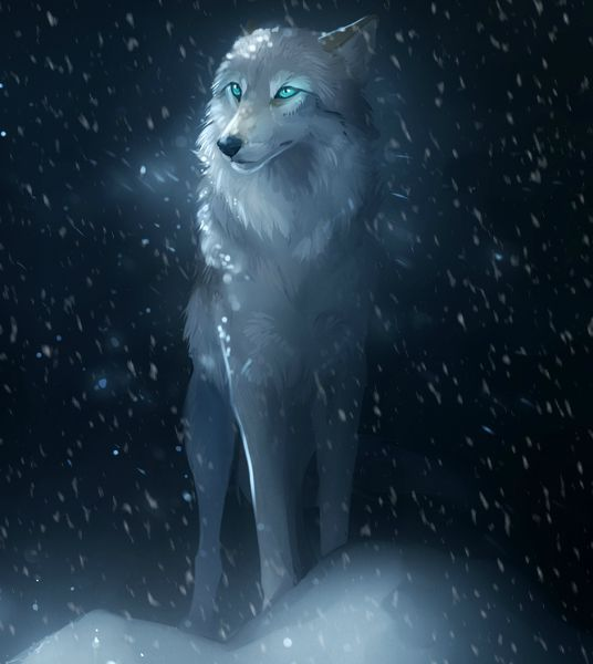 Black wolf with blue eyes drawing - photo#11