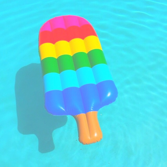 blue, bright, color, filter, float, green, pink, pool, popsicle, rainbow, red, summer, tropical, tumblr, water, yellow