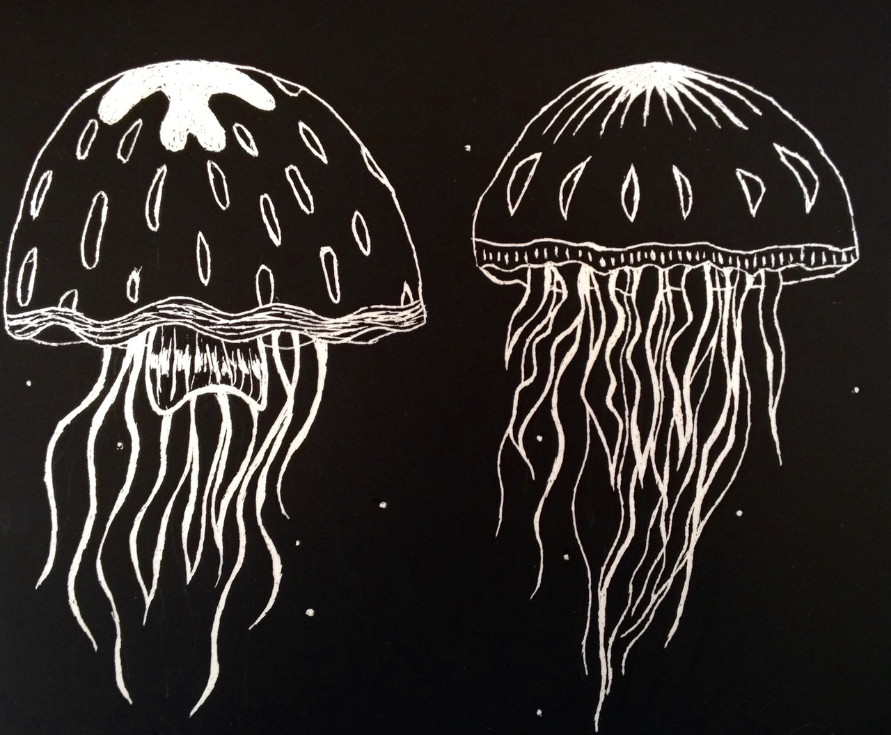art, artwork, black and white, creative, deep sea, draw, jellyfish, paint, sketching, under water, water