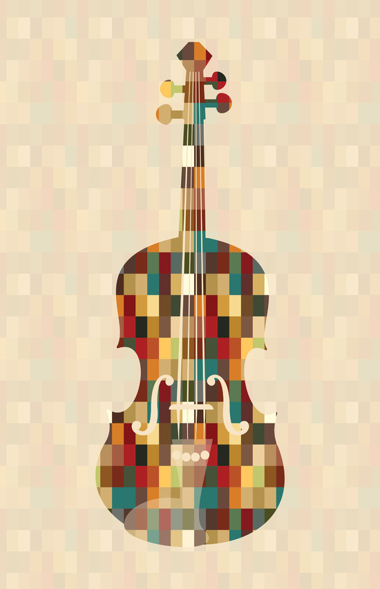 art, cello, color, cube, cubes, illustration, instrument, minimalist, orchestra, painting, pixel, rectangle, rectangles, violin