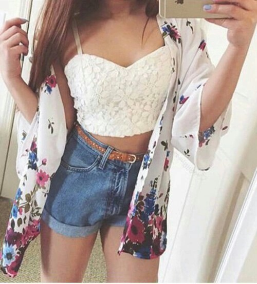 clothes, fashion, flowers, girl, girly, jean, like, love, nails, outfit, shorts, style, top, white