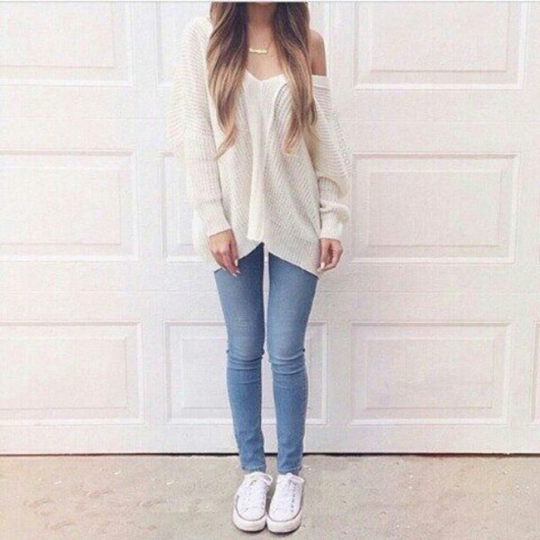 Beauty Cute Fashion Girl Jeans Look Nice Outfit Pretty Simple Style Sweater White