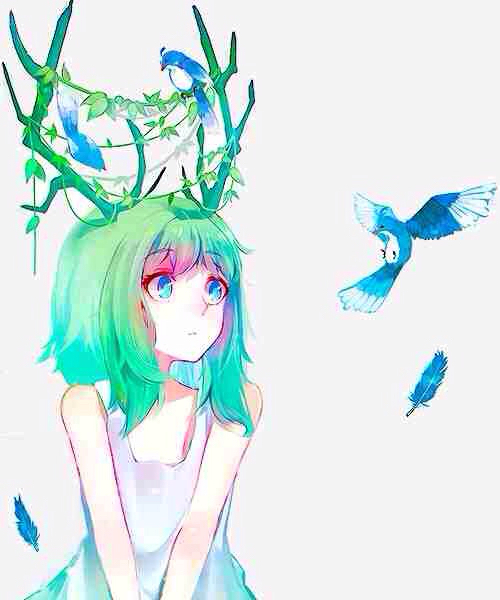 anime girl, antlers, art, beautiful, bird, colorful, cute, feathers, green, horns, nature, pretty, anime