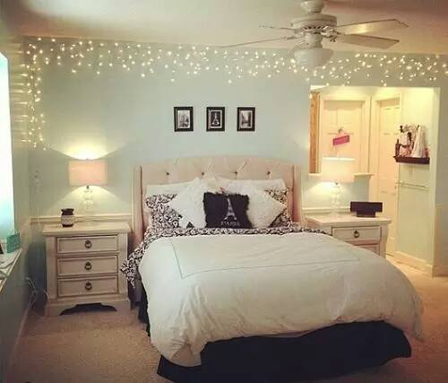 Beautiful bed bedroom decor fairy lights girl room for Beautiful room decoration