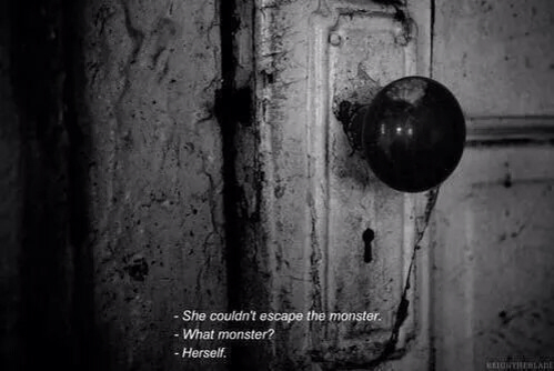 dark, darkness, monster, quotes, room, sad, sadness - image