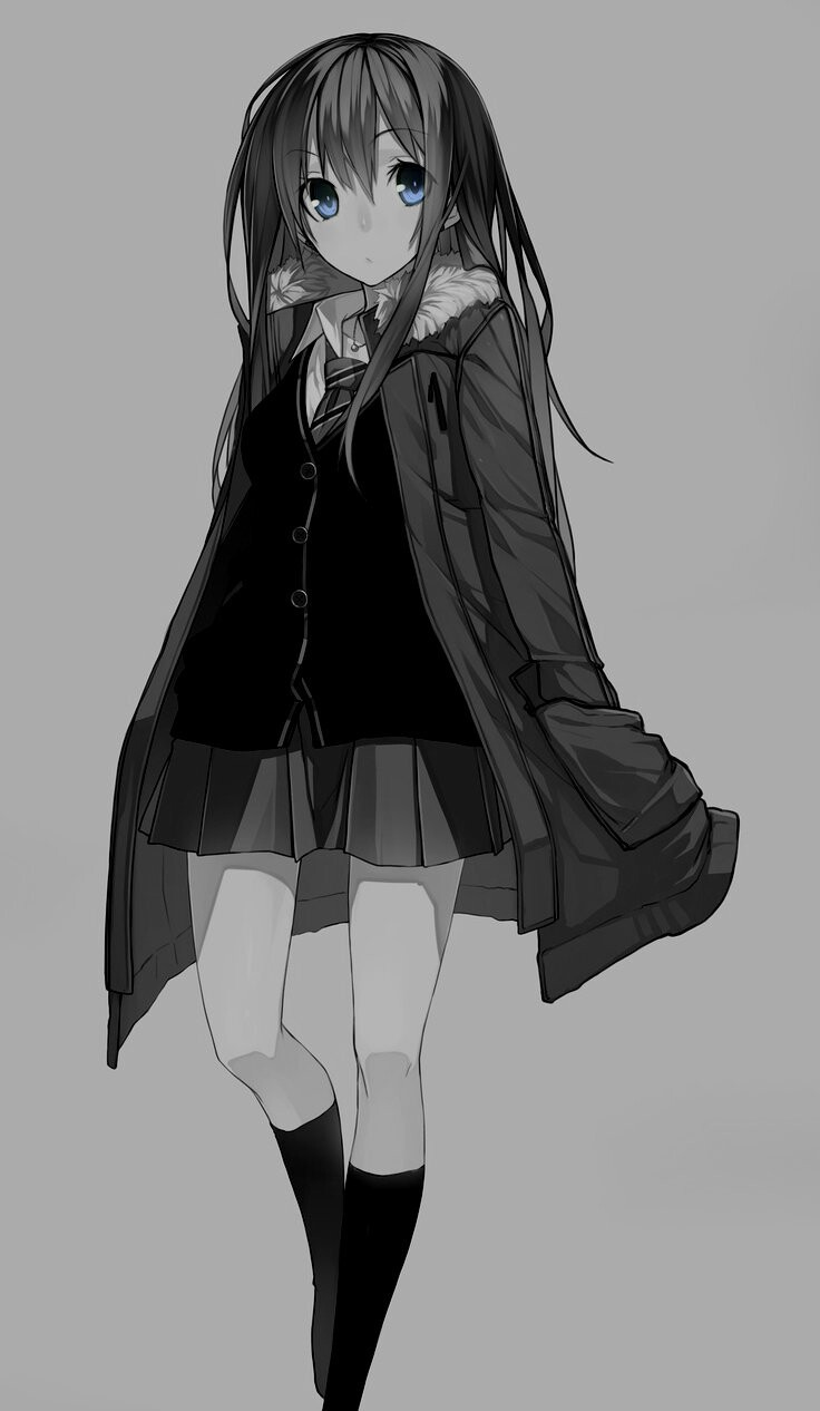anime girl, art, black and white, blue eyes, cold, cute, draw, girl, kawaii, manga, manga girl, monochrome, school, school uniform, stylish, winter, anime
