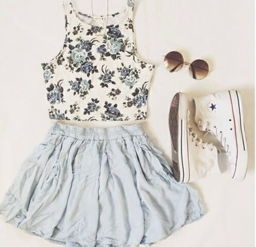 adorable, beautiful, blue, blue floral, blue skirt, casual, chick, converse, cool, crop top, cute, cute outfits, floral, girl, girly, mini skirt, outfits, pale, pale blue, rad, short skirt, skirt, sneakers, sunglasses, white, white converse