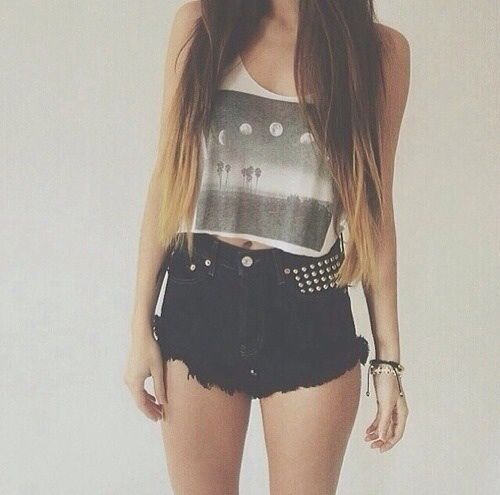 Black casual chick cool crop top cute girl moon outfits shorts style tumblr white ...